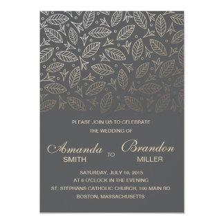Scattered Leaves Faux Foil Wedding Invitation-Coal 13 Cm X 18 Cm Invitation Card