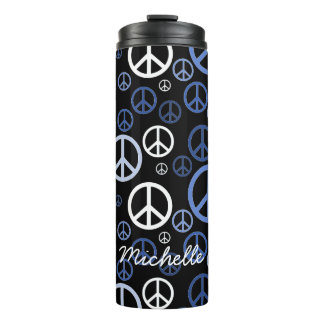 Scattered Peace Signs Blue SPST Thermal Tumbler