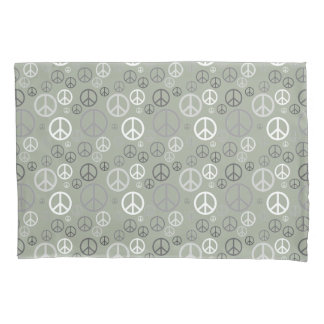 Scattered Peace Signs Grey SPST Pillowcase