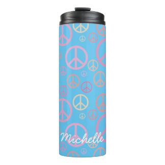 Scattered Peace Signs Pastels SPST Thermal Tumbler