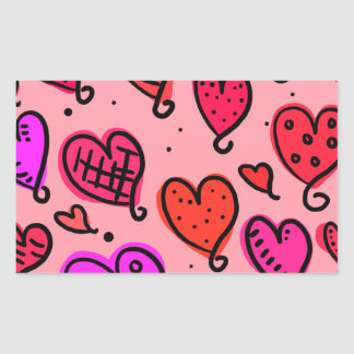 Scattered Red and Pink Hearts Scribble Pattern Rectangular Sticker