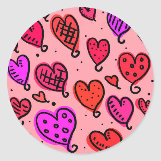 Scattered Red and Pink Hearts Scribble Pattern Round Sticker