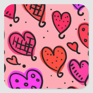 Scattered Red and Pink Hearts Scribble Pattern Square Sticker