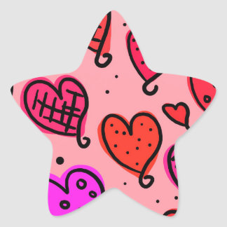 Scattered Red and Pink Hearts Scribble Pattern Star Sticker