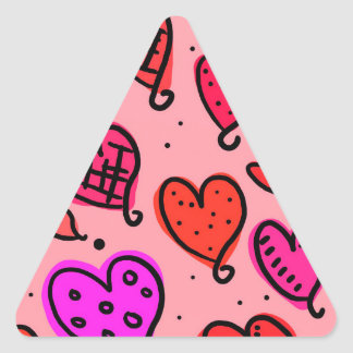 Scattered Red and Pink Hearts Scribble Pattern Triangle Sticker