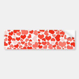 Scattered Red Hearts Pattern Bumper Sticker