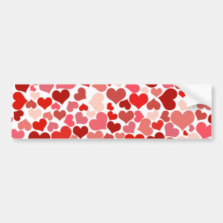 Scattered Red Maroon Hearts Pattern Bumper Sticker