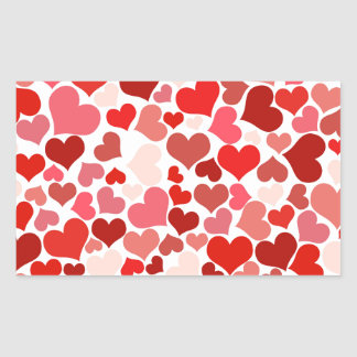 Scattered Red Maroon Hearts Pattern Rectangular Sticker