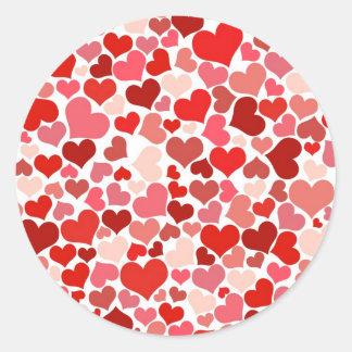 Scattered Red Maroon Hearts Pattern Round Sticker
