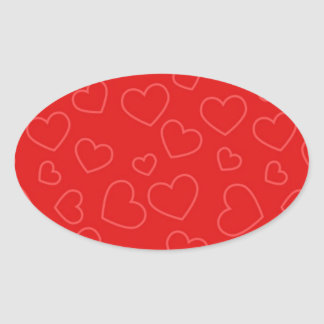 Scattered Red on Red Hearts Pattern Oval Sticker