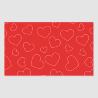 Scattered Red on Red Hearts Pattern Rectangular Sticker