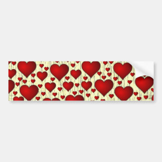 Scattered Red Yellow Distressed Hearts Pattern Bumper Sticker