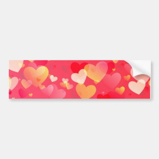 Scattered Red Yellow Hearts Pattern Bumper Sticker