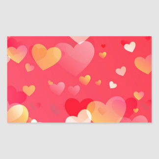 Scattered Red Yellow Hearts Pattern Rectangular Sticker