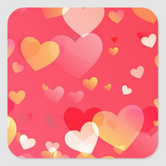 Scattered Red Yellow Hearts Pattern Square Sticker