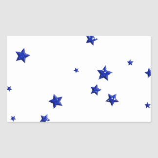 SCATTERED ROYAL BLUE STARS ACCENTS TEMPLATE BACKGR RECTANGULAR STICKER
