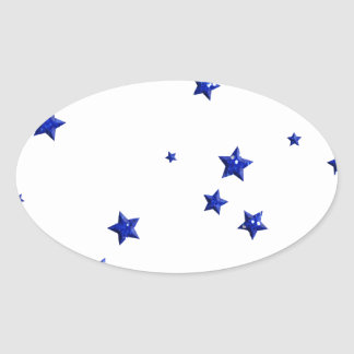 SCATTERED ROYAL BLUE STARS ACCENTS TEMPLATE BACKGR OVAL STICKER