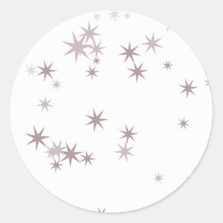 Scattered Silver Faerie Stars Round Sticker