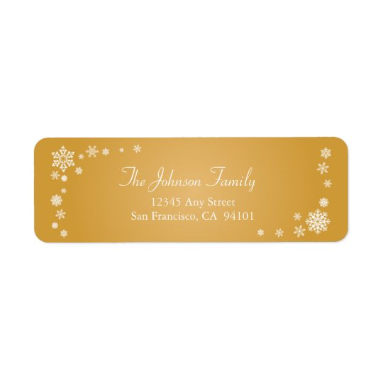 Scattered Snowflakes Holiday Address Labels (gold)