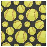 Scattered Softball Balls Black Fabric