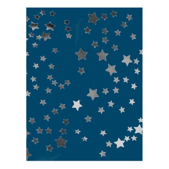 Scattered Stars on Blue Postcard