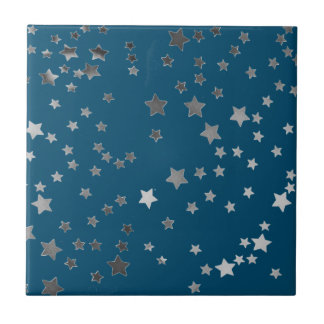 Scattered Stars on Blue Tile