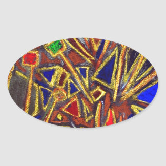 Scattered Stationery (abstract expressionism ) Oval Sticker