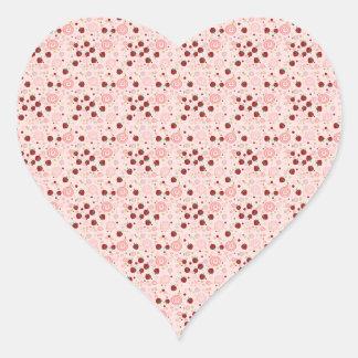 Scattered Strawberry Swirl Pattern Heart Sticker