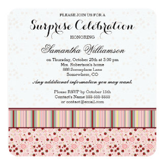 Scattered Strawberry Swirl Pattern With Initial Card