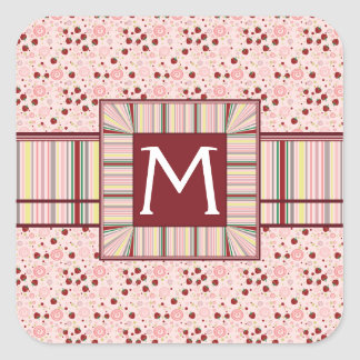 Scattered Strawberry Swirl Pattern With Initial Square Sticker