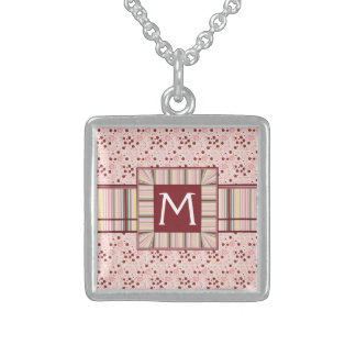 Scattered Strawberry Swirl Pattern With Initial Sterling Silver Necklace