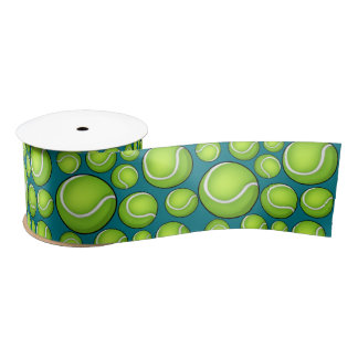 Scattered Tennis Balls Blue Green Satin Ribbon