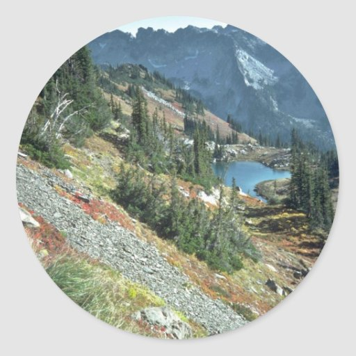 Scattered Trees On A Mountain Slope, Round Stickers