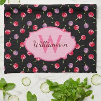 Scattered Watercolor Cherries Monogrammed Tea Towel