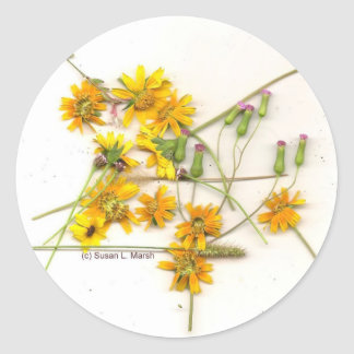 Scattered wildflowers in yellow and white stickers