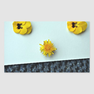 Scattered Yellow Flowers Rectangular Sticker