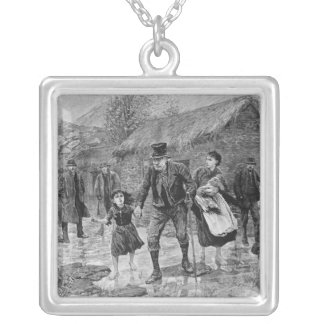 Scene at an Irish Eviction in County Kerry Silver Plated Necklace