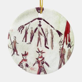 Scene Drawing from Ubu Roi Round Ceramic Decoration