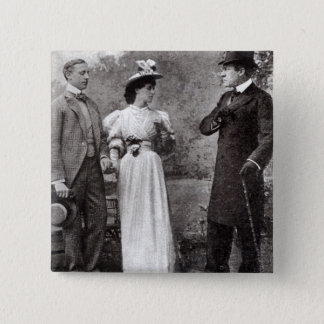Scene from a performance of The Importance of Bein 15 Cm Square Badge