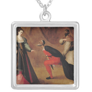 Scene from a Play Square Pendant Necklace