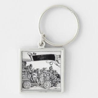 Scene from Maximilian's Triumphal Procession Silver-Colored Square Key Ring