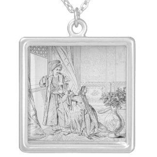 Scene from The Bride of Abydos by Lord Byron Silver Plated Necklace