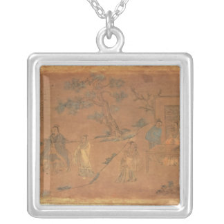 Scene from the life of Confucius Silver Plated Necklace