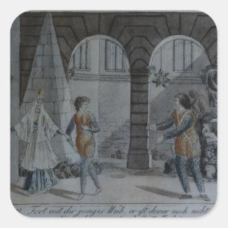 Scene from 'The Magic Flute' Square Sticker