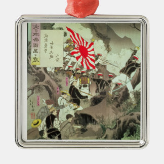 Scene from the Sino-Japanese War in Korea (wood bl Silver-Colored Square Decoration