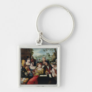 Scene Galante at the Gates of Paris Key Ring