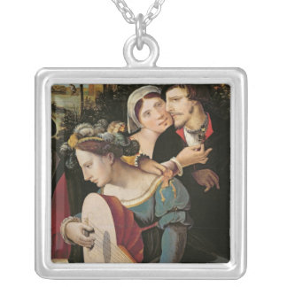 Scene Galante at the Gates of Paris Silver Plated Necklace