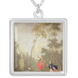 Scene Galante in a Park, c.1760 Silver Plated Necklace