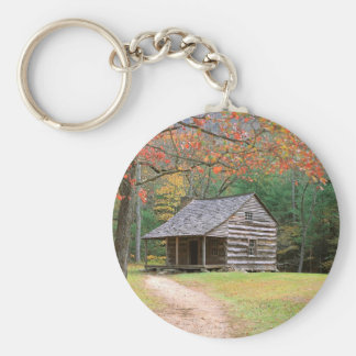 Scene Historic Log Cabin In Smoky Basic Round Button Key Ring