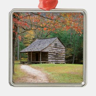 Scene Historic Log Cabin In Smoky Silver-Colored Square Decoration